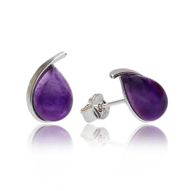 silver amethyst stud earrings - pear - sterling silver - HC Jewellers - Royston