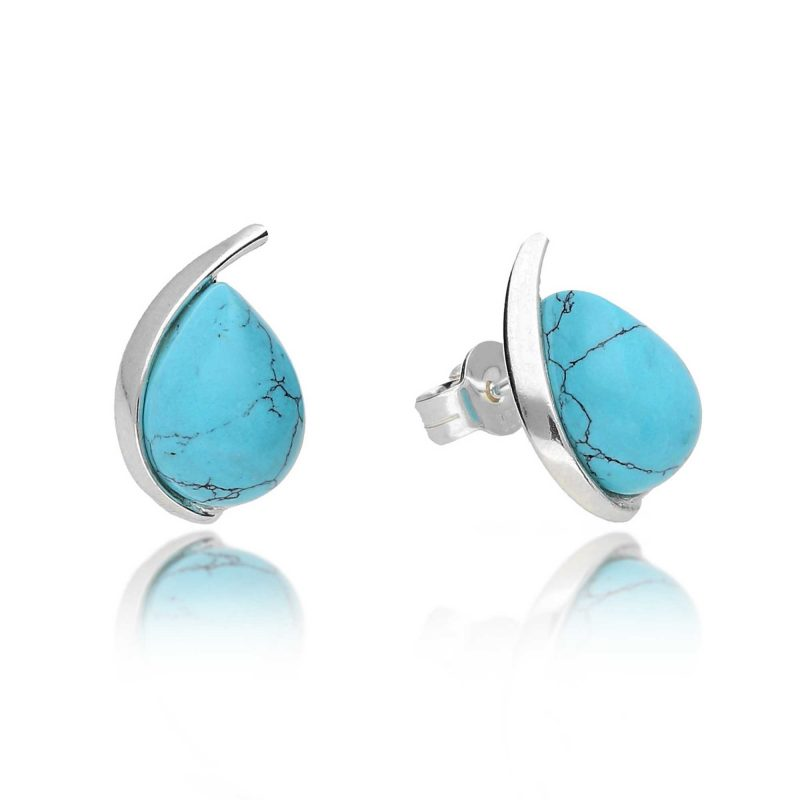 silver turquoise stud earrings - sterling silver - HC Jewellers - Royston