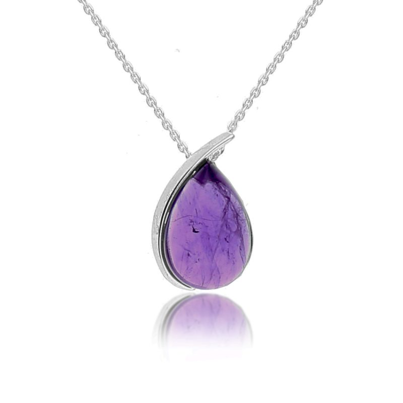 silver amethyst pendant - pear shape - sterling silver - HC Jewellers - Royston