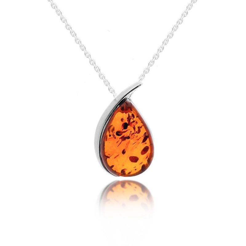 amber pendant - silver - pear shape - sterling silver - HC Jewellers - Royston