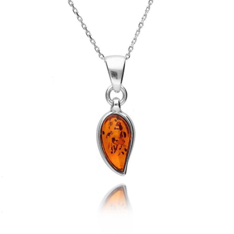 cognac amber pendant - tear drop - silver - HC Jewellers - Royston