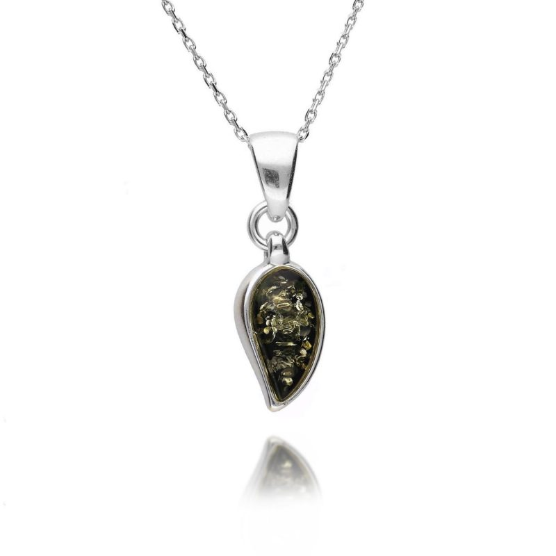 green amber pendant - tear drop - sterling silver - HC Jewellers - Royston