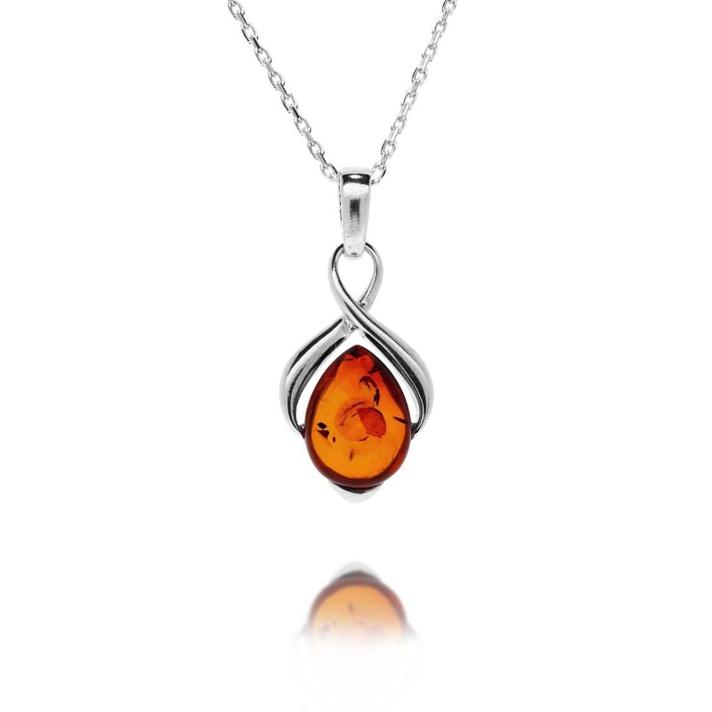 silver cognac amber pendant - pear - sterling silver - HC Jewellers - Royston