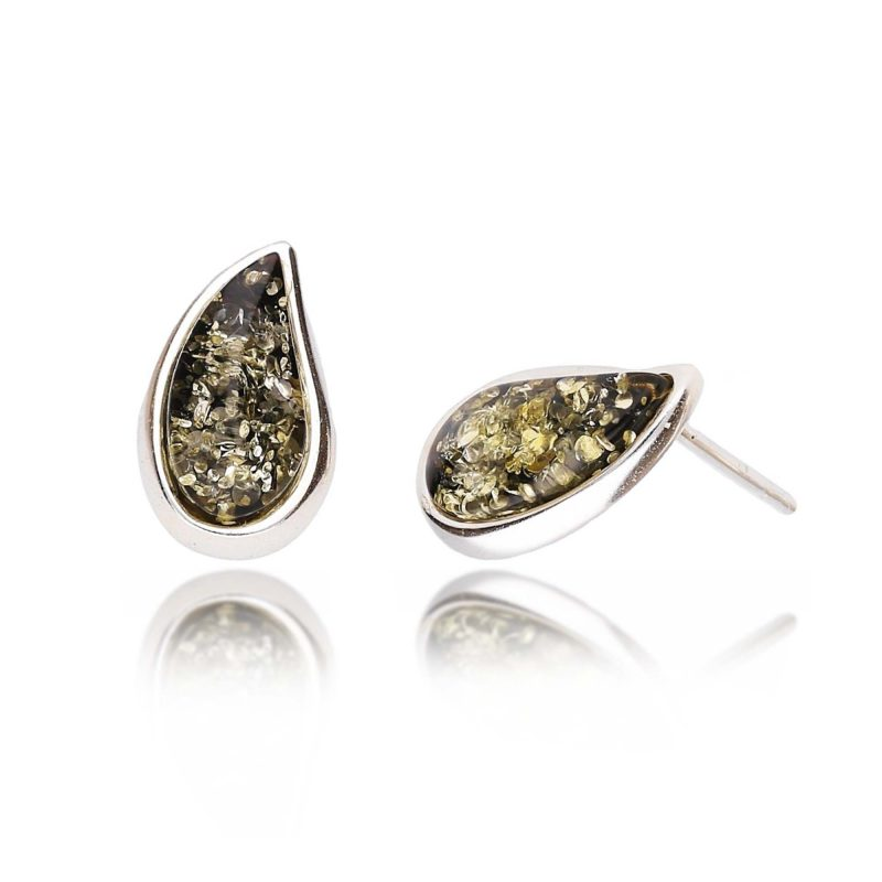 green amber studs - pear shape - sterling silver - HC Jewellers - Royston