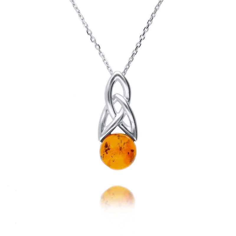 celtic style pendant - baltic amber - sterling silver - HC Jewellers - Royston
