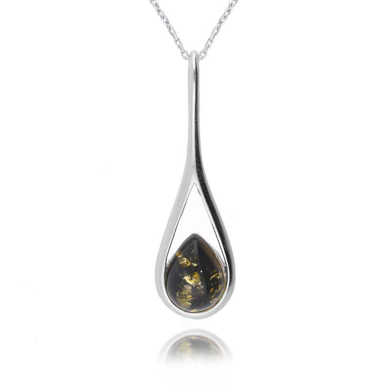 silver green amber pendant - teardrop - sterling silver - HC Jewellers - Royston