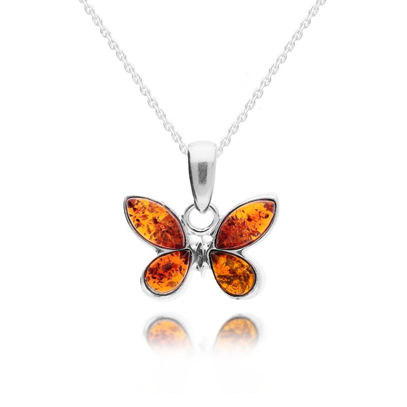 butterfly pendant - cognac - amber - sterling silver - HC Jewellers - Royston