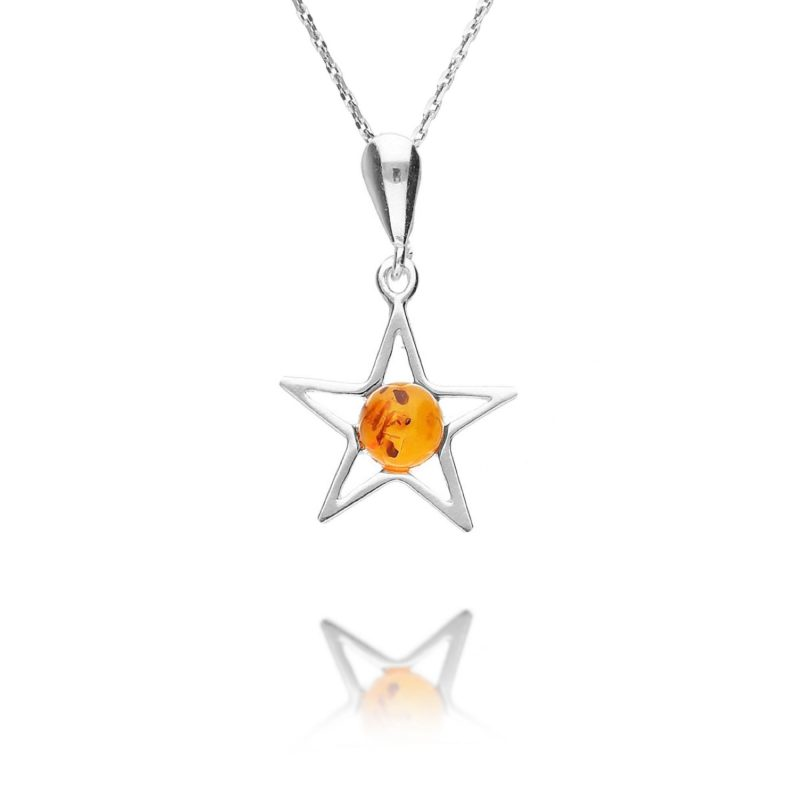 amber star pendant - cognac - round - sterling silver - silver - HC Jewellers - Royston