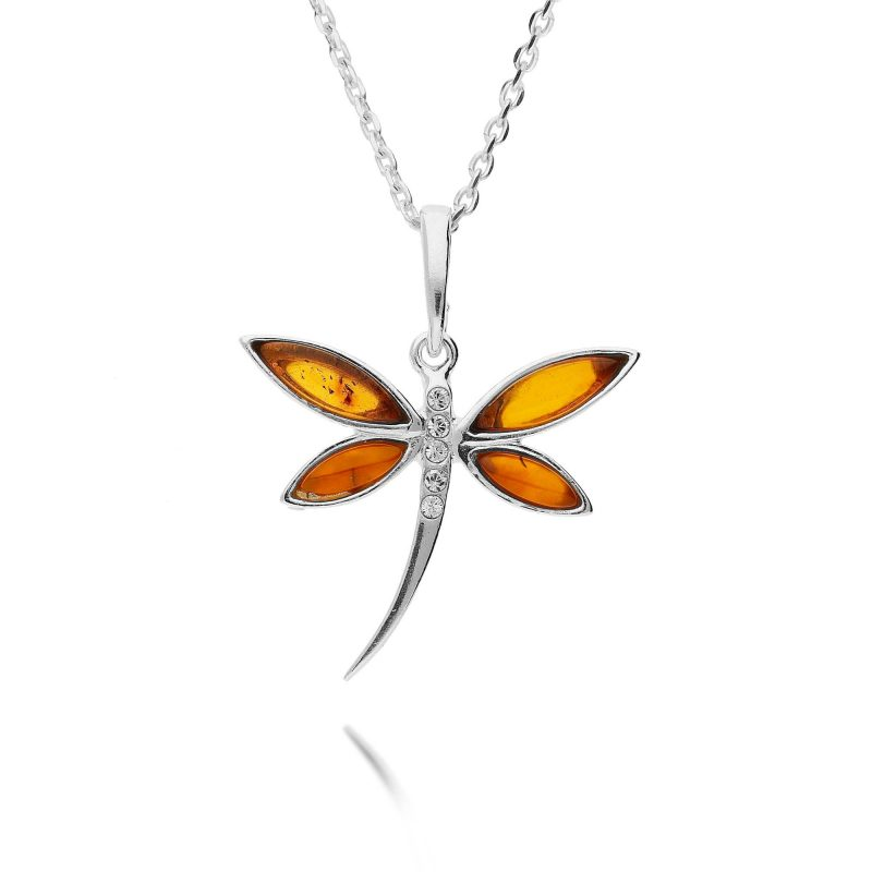 dragonfly pendant - cubic zirconia - amber - silver - HC Jewellers - Royston