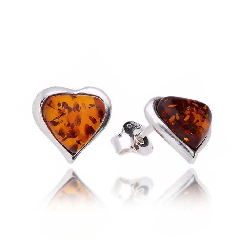 amber heart studs