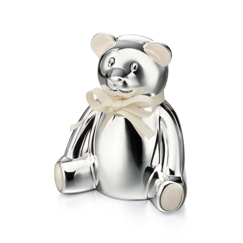 teddy money box - children's gift - silver plated - HC Jewellers - Royston