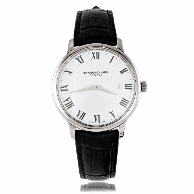 mens-watch-raymondweil-white-dial-black-strap-HC Jewellers - Royston
