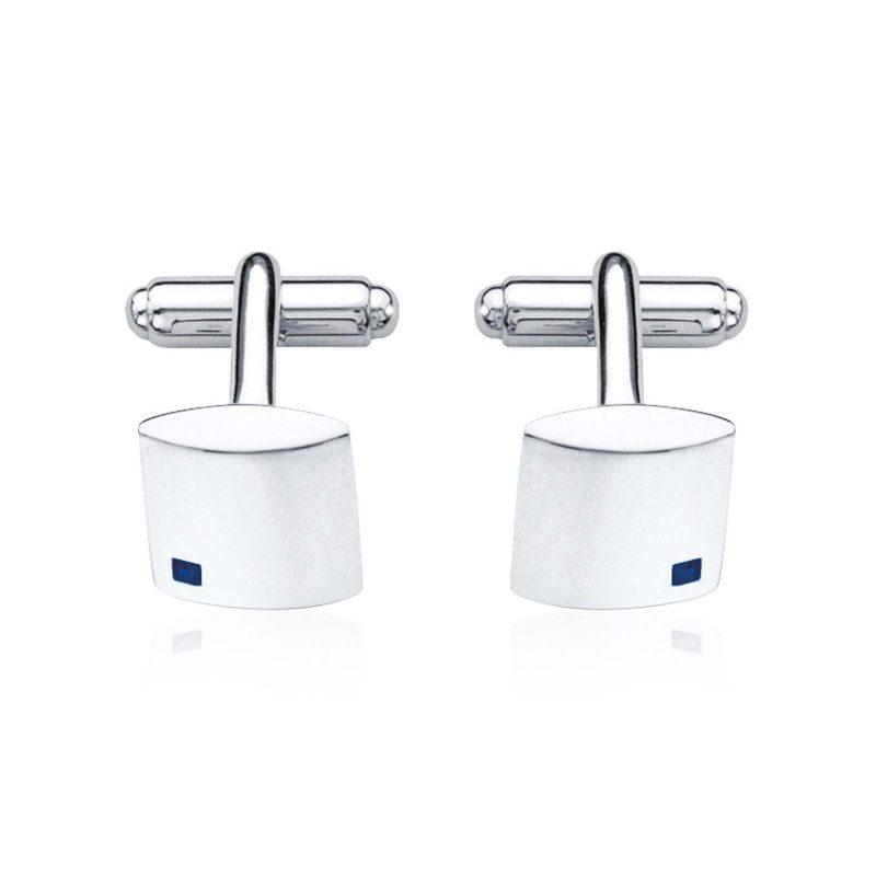 sapphire cufflinks - silver - fred bennet - HC Jewellers - Royston