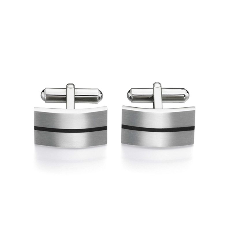 brushed steel cufflinks - black - enamel - HC Jewellers - Royston