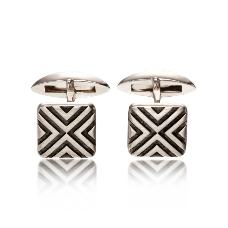 silver cufflinks - oxidised silver - fred bennet - HC Jewellers - Royston