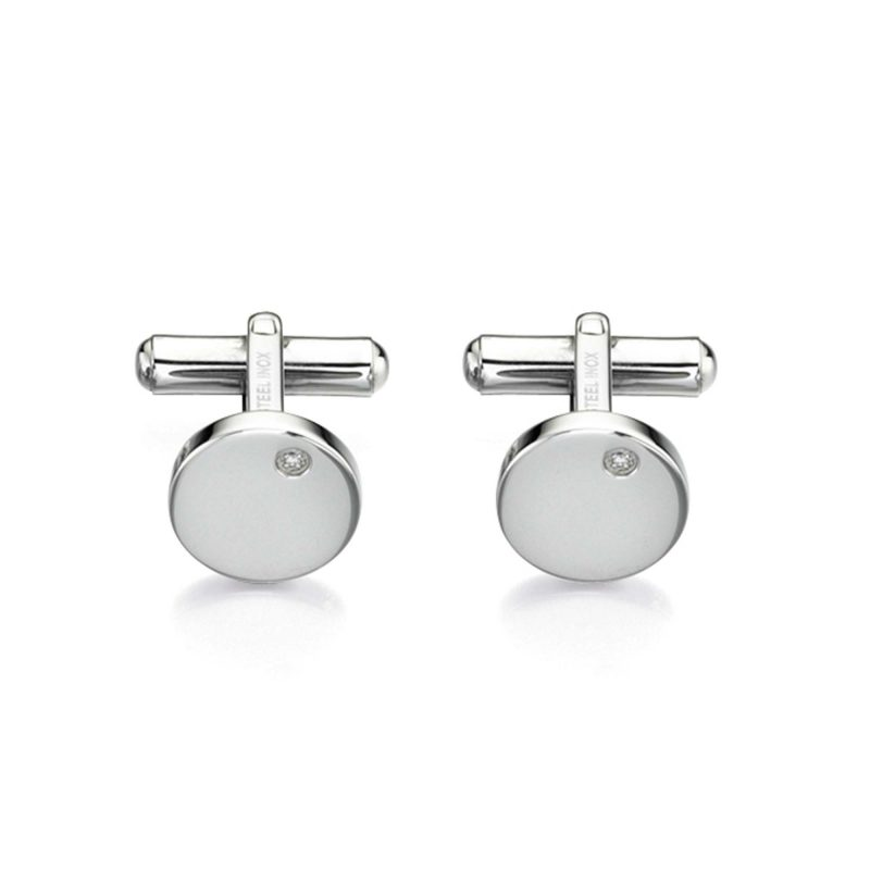 steel cufflinks - cubic zirconia - fred bennet - stainless steel - HC Jewellers - Royston
