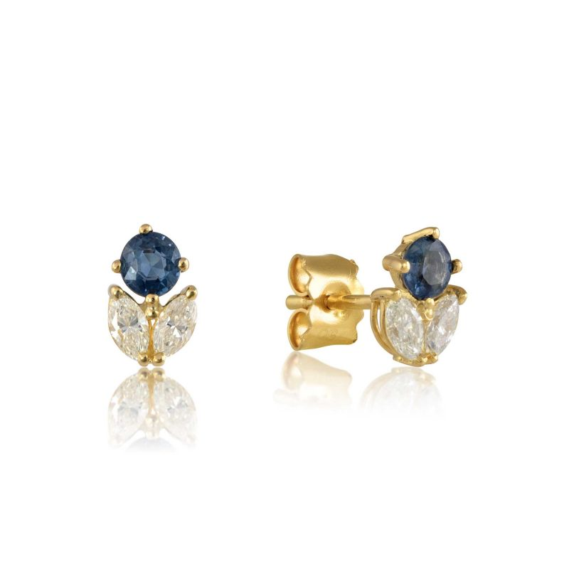 Diamond and Sapphire stud earrings in 18ct gold