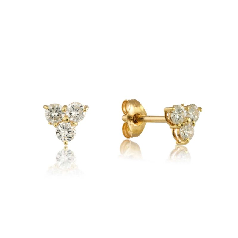 18ct Gold & three Diamond cluster stud earrings