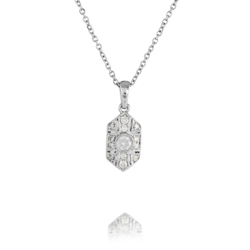diamond white gold pendant with 18ct white gold chain