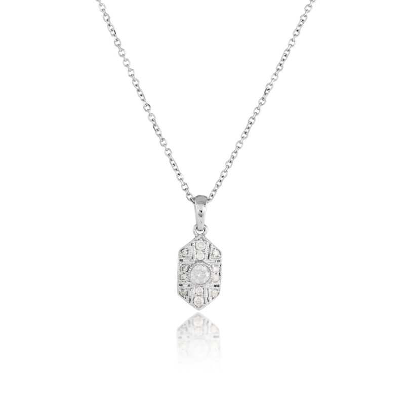 white gold and diamond pendant with chain