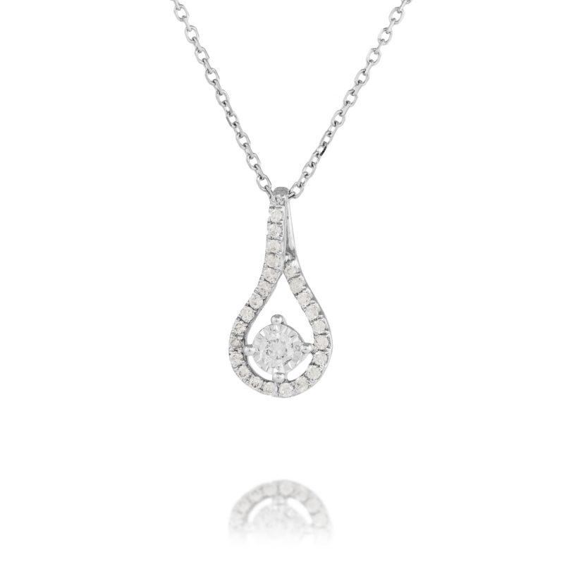18ct White Gold & Diamond pendant with chain
