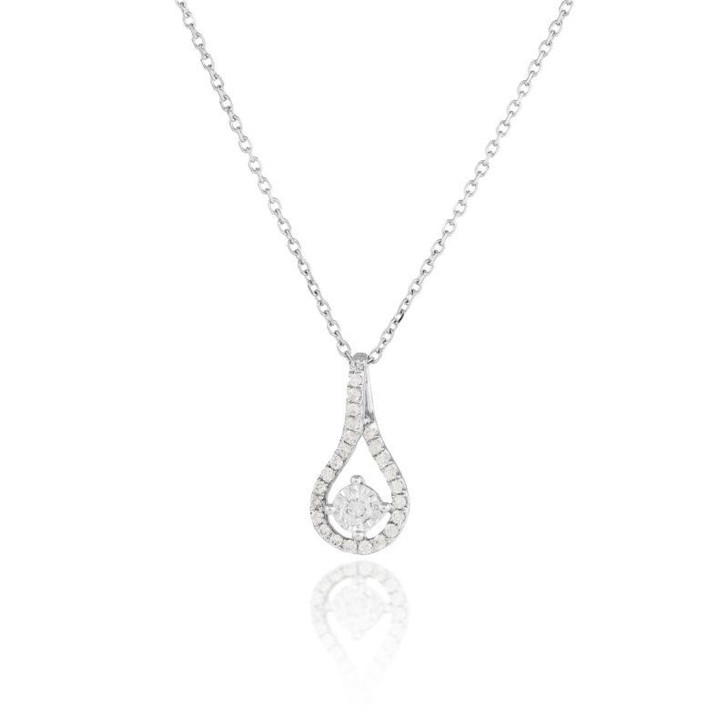18ct White Gold & Diamond pendant with chain