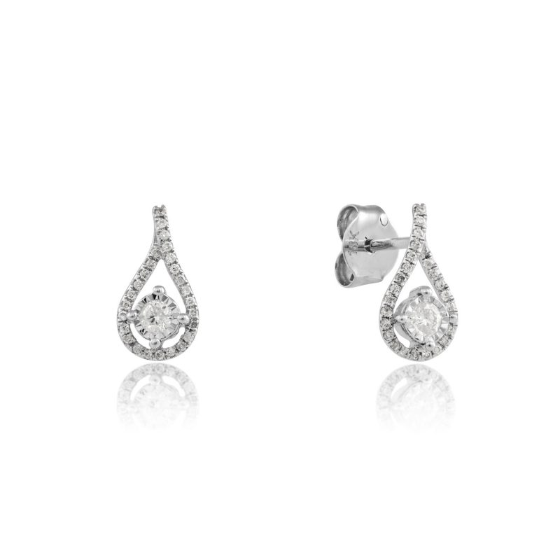 18ct White Gold & Diamond tear shape earrings