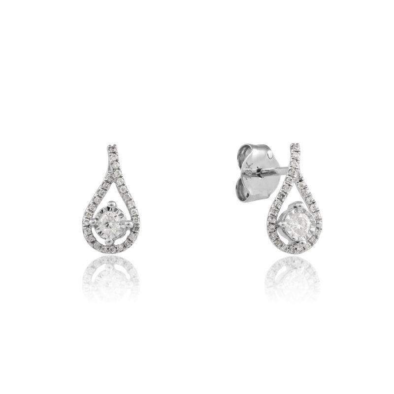 18ct White Gold & Diamond tear shape earrings