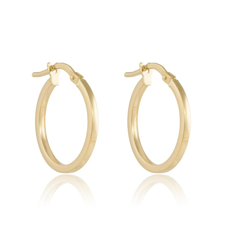 9ct Gold Hoops - 15mm Earrings