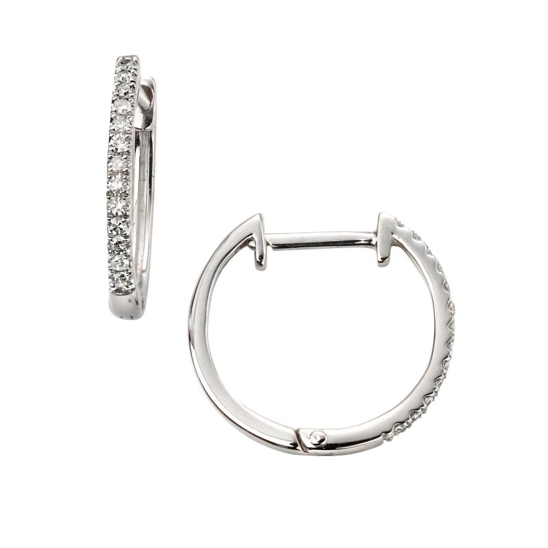 Diamond hoops in White Gold,