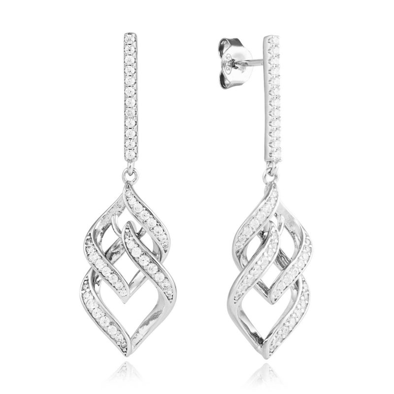 Cubic Zirconia chandelier earrings in silver
