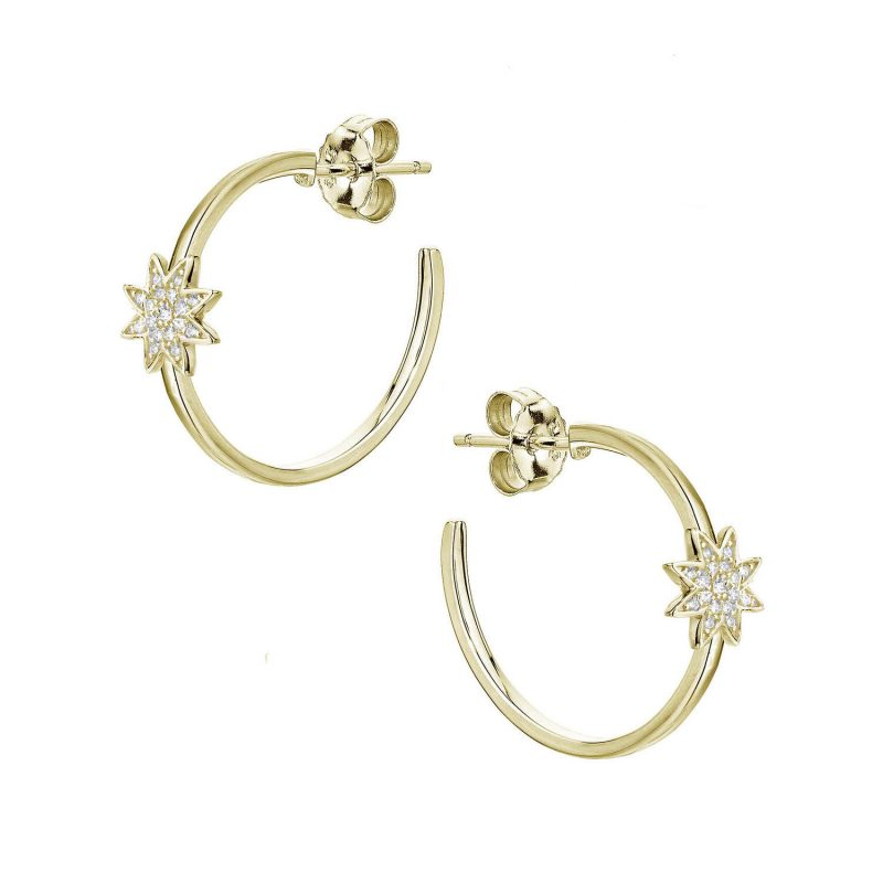 Nova-silver-gold-star-hoop-earrings