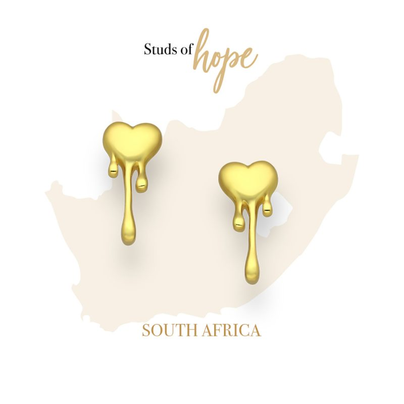 Melting Heart Gold Studs - 18kt gold plated on Silver