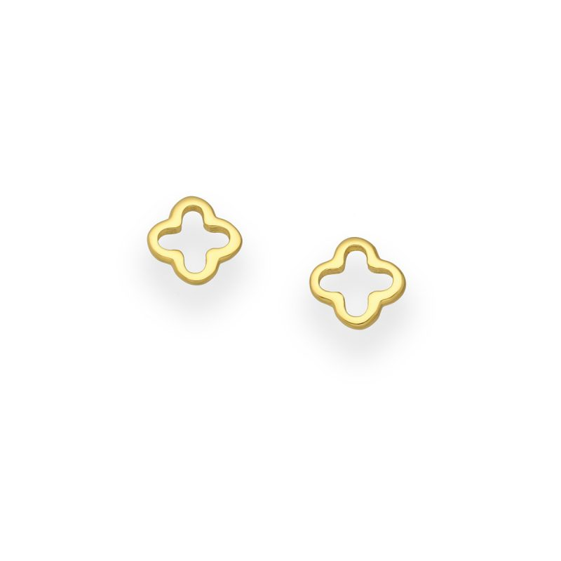 Golden Clover Stud Earrings - 18kt gold plated on Silver