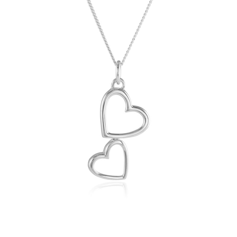 """silver two hearts pendant with 18"""" silver chain"""