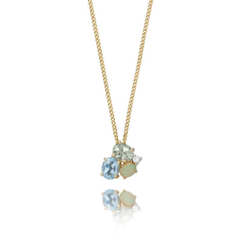 Ladies gold gemstone cluster pendant