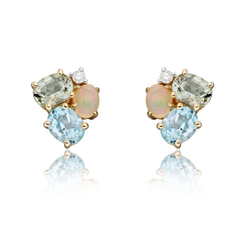 Ladies four stone stud earrings