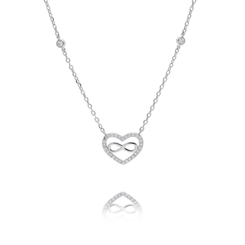 silver heart infinity necklace