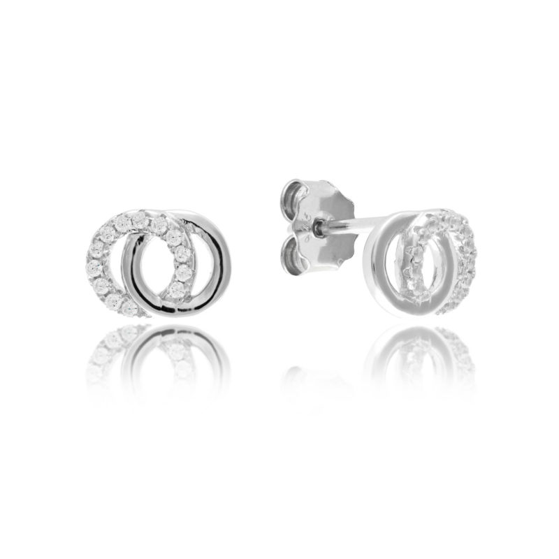 Silver Intwined Circle Studs