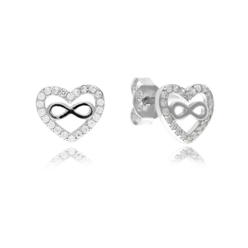 Silver heart infinity studs