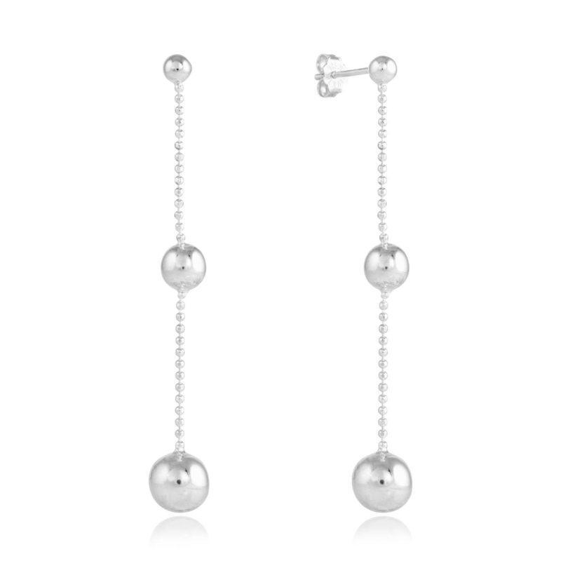 silver bead drop earrings