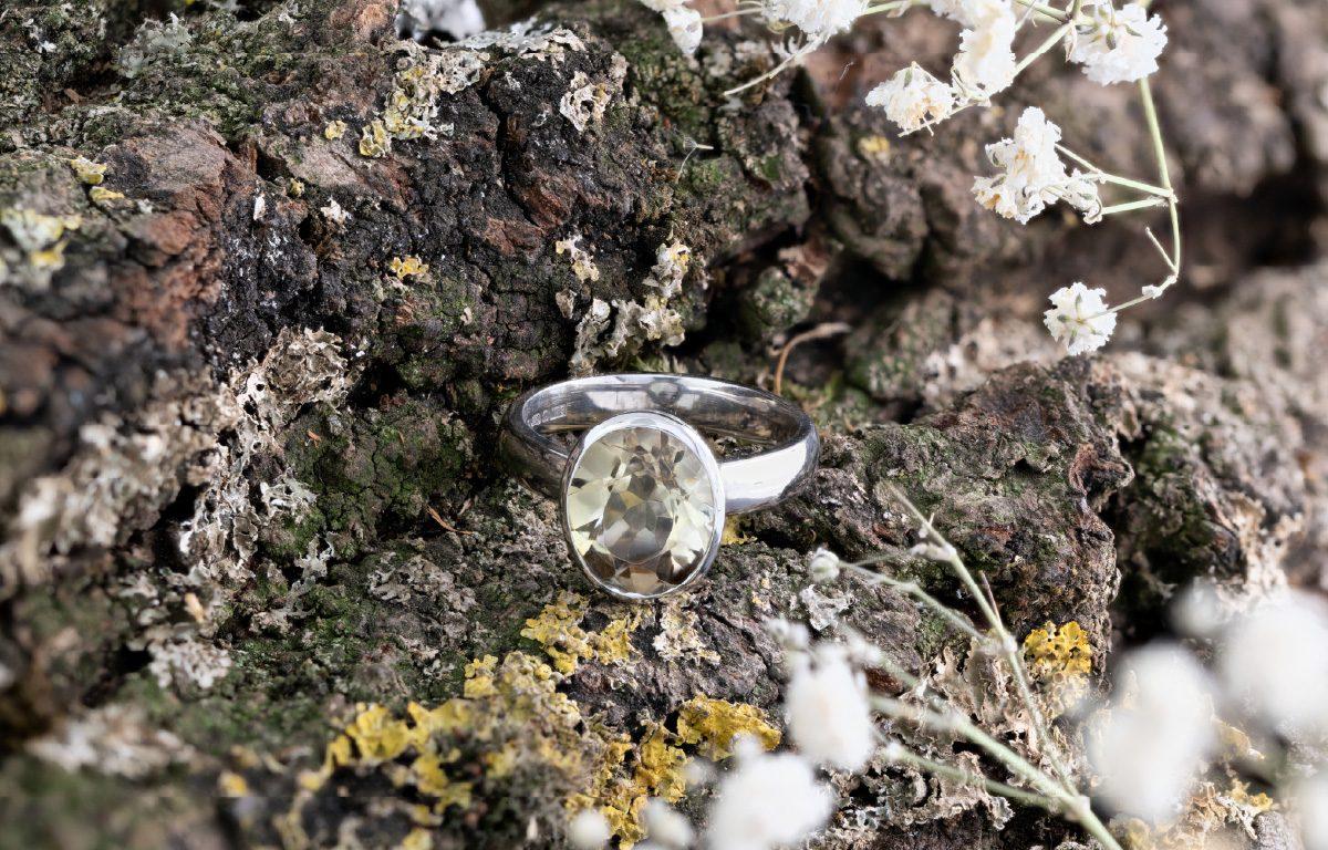 Bespoke white gold citrine ring